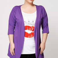 Hello Beautiful Kiss Print Two-In-One Cardigan Top