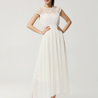 Lace Cap Sleeve Pleated Empire Dress