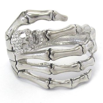 Crystal Skull Skeleton Hand Bangle Bracelet