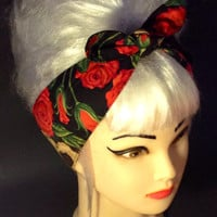 Rockabilly Headband Roses Skull Pin-up Vintage Black Style 50s Psychobilly Head Wrap Scarf