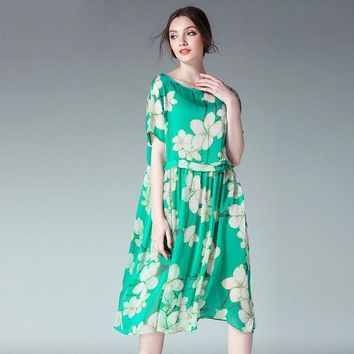 DCCKIHN 2017 two pieces floral print women chiffon loose dresses plus size O neck women pleated chiffon summer dresses red green color