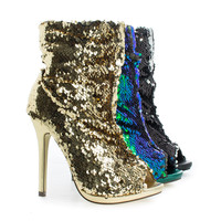 Maxim12 By Liliana, Multi Color Sequins Peep Toe High Heel Above Ankle Bootie