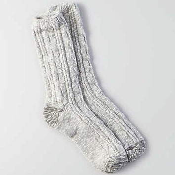 AEO Striped Cable Crew Socks, Light Heather