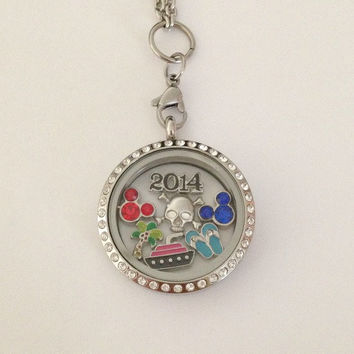 Living floating memory locket large 30mm stainless steel DCL Disney cruise line inspired Castaway Cay charms