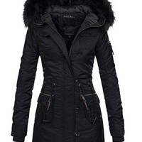 Women's Outerwear Coat Faux Fur Windproof Slim Hooded Punk Style Zipper (S-XXL)
