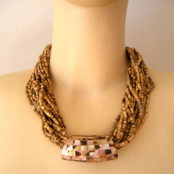 UNIQUE Vintage Organic 18 Strand Shell Beads and Huge Mother of Pearl Slider TORSADE Necklace