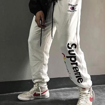 Champion X Supreme Fashion Women Men Casual Print Drawstring Thick Warm Sport Pants Trousers Sweatpants White