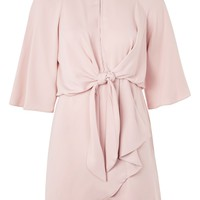 Knot Front Mini Dress - Dresses - Clothing