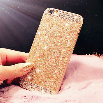 Fashion Glitter powder Rhinestone bling phone case for iphone 5 5s SE 6 6s 6Plus 6s Plus