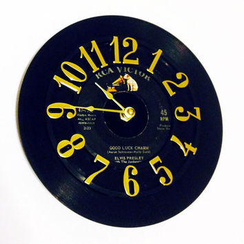 Vinyl Record Clock, Record Clock, Wall Clock, Elvis Record, Recycled Record, Upcycle, Battery & Wall Hanger included, Item #27