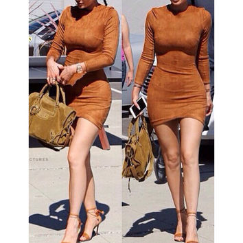 Fashion high collar Solid color bodycon dress