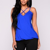 Flaming Sambuca Surplice Top - Neon Royal