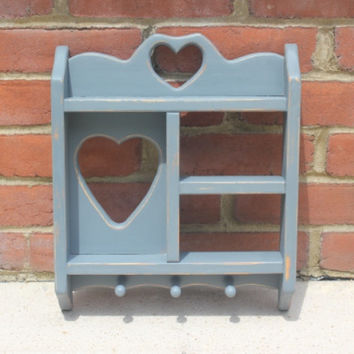 Cottage chic wood shadow box key holder with heart cut-outs, hand-painted in Annie Sloan gray  blue chalk paint