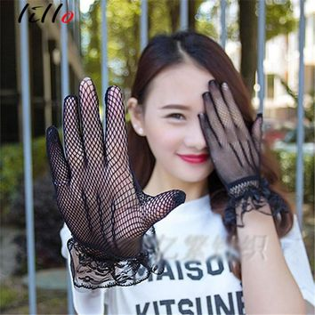 Gauze Gloves  Sexy Lace Stretch Threads Gloves Short Gloves Summer Female Drivers Sun Protection Gloves fashion