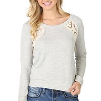Long Sleeve French Terry Crop Top with Crochet Insets