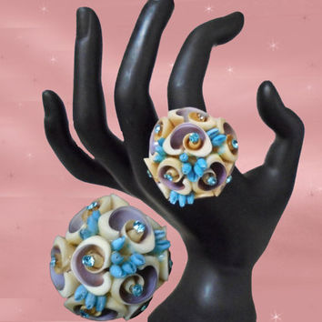 OOAK Chunky Ring - Large Statement Ring - Vintage Sea Shells & Rhinestones