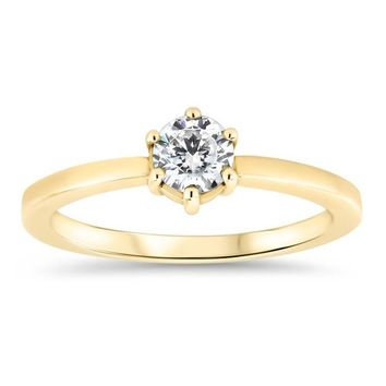 Dainty Solitaire  Engagement Ring Minimalist Design Six Prong Setting Moissanite Center - Natalie