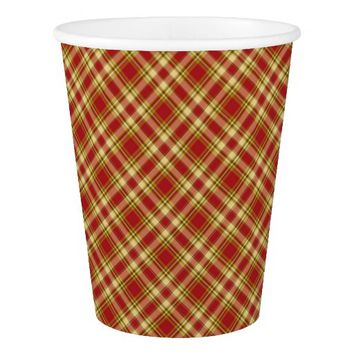 Christmas Plaid 15-PAPER CUPS