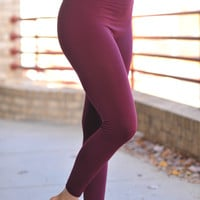 Fleece Lined Leggings- Burgundy