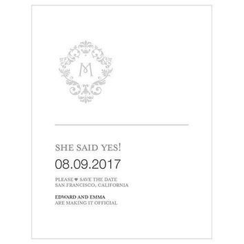 Monogram Simplicity Save The Date Card - Classic Filigree (Pack of 1)