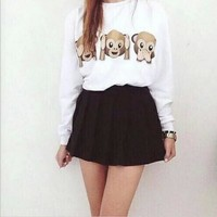 Round Neck Monkey Pattern Printing Long-Sleeved Sweater