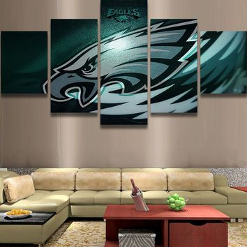 Philadelphia Eagles NFL Football 5 Panel Canvas Wall Art Home Decor