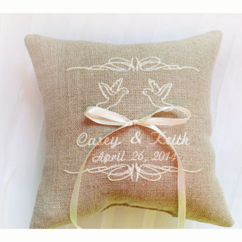 Personalised Linen Wedding ring pillow , ring pillow, ring bearer pillow with Custom embroidery, Ring Pillow , wedding pillow(R98)