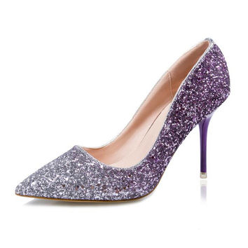 New Bling Sequins 10cm High Heels Pumps For Women Sexy Thin Heels Wedding Shoes Ladies High Heels Shoes Nigh Club Female Pumps