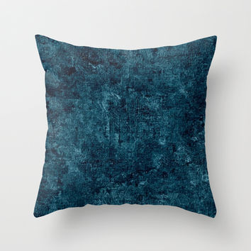 Blue Coral Oil Painting Color Accent Throw Pillow by Sara Valor