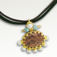 24k plated gold with pearls and fire agate by artisanimpact