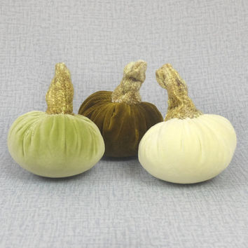 Three Velvet Pumpkins Halloween Decor Thanksgiving Decoration Textile Centerpieces Light Yellow Green Dark Olive Green Autumn Fall Ornament