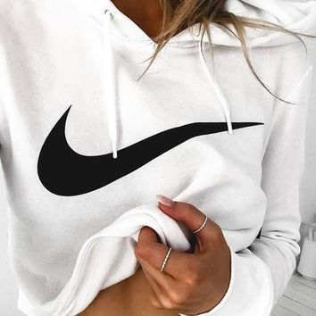 Nike Fashion Print Big hook White Cotton Sweatshirt Hoodie