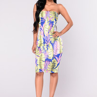 Palm Trees Dress - Royal
