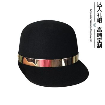 Recessionista fedoras metal ring wool baseball cap fedoras casual all-match women's hat