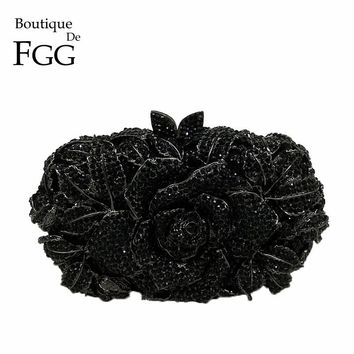 Boutique De FGG Classic Black Jet Crystal Clutch Evening Bag For Women Metal Floral Clutches Wedding Party Flower Handbag Purse