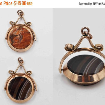 ON SALE Antique Victorian Gold Filled Banded Agate Watch Fob, Pendant, Charm, Spinning, Reversible, Double Sided, Beautiful! #b728