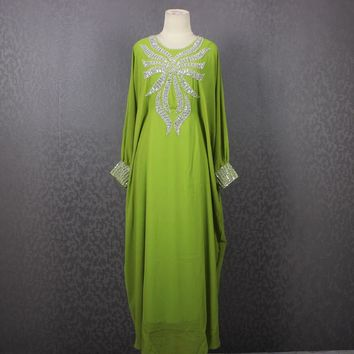 Very Fancy Light Green Sequin Caftan Dress, Maxi Kaftan Gowns Dresses, Plus Size Caftan Maxi Dress, Moroccan Dubai Abaya Maxi Caftan Dress