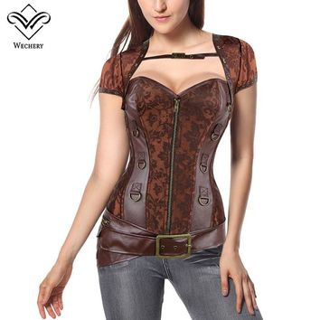 Wechery Leather Steampunk Corset Sexy Push Up Punk Corselet Lace Up Button Bustiers Korset Front Zipper Vest Waist Trainer Tops