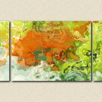 "Large triptych art stretched canvas print, 30x60 to 40x78, abstract expressionism in orange and green, ""Best Friends"""