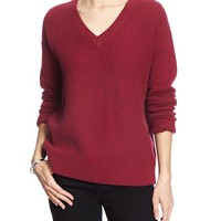 Banana Republic Factory Mixed Stitch Vee Sweater