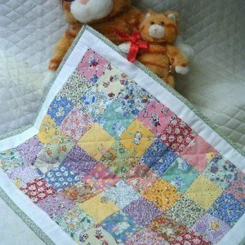 Mini Patchwork Doll Quilt  1930's Reproduction Fabrics  Table Runner