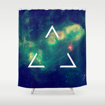 Space Hipster Triangle Shower Curtain by Poppo Inc. | Society6