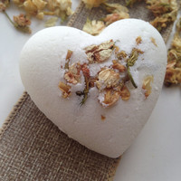 Handmade Aromatherapy Fizzy White Heart Shape Bath Bomb with Jasmine essential oil and dried flowers
