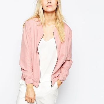 Pop CpH Zip Cupro Blouson Bomber Jacket at asos.com