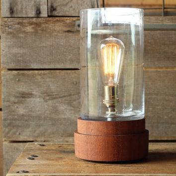 Signature Lantern Pedestal Lamp, Sapele- Solid Wood, Edison Bulb Lamp, Modern Lighting, Large Lamp