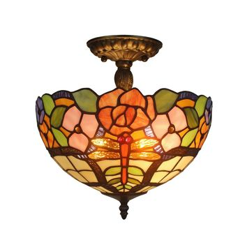 Amora Lighting AM050CL12 Home Decorative Tiffany Style Ceiling Lamp Fixture 2 Light