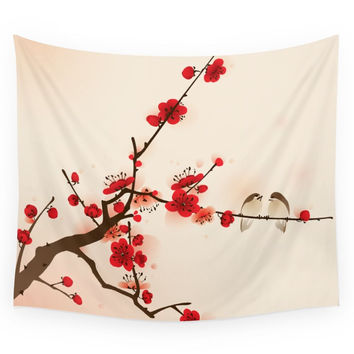 Society6 Oriental Plum Blossom In Spring Wall Tapestry