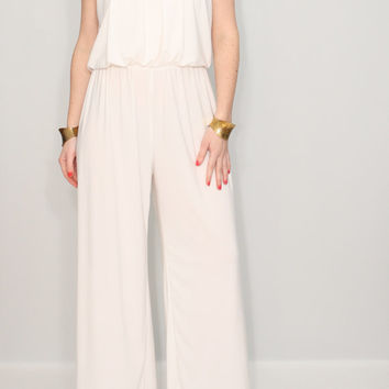 Ivory jumpsuit off white pant suit Wide leg jumpsuit Halter jumpsuit for women