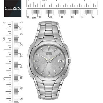 CITIZEN ECO DRIVE MENS STAINLESS STEEL GREY BRACELET WATCH BM6010-55A