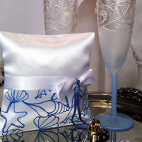 Hand painted white Satin ring bearer pillow Beach sea wedding in blue color personalized wedding favor
